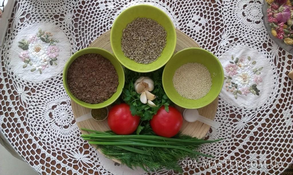 сыроедческие хлебцы из семян ингредиенты: помидор, чеснок, укроп, петрушка, семена льна, лук, кунжут, семена подсолнечника, соль, сушеные семена кориандра, сушеные семена укропа